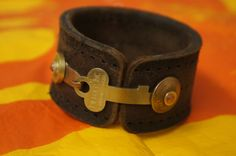 Harness Leather Cuff  Key Closure by MakeShiftAccessories on Etsy, $65.00