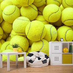 Tennis Balls Background Sports  Games Wall Mural Hobbies Photo Wallpaper available in 8 Sizes Gigantic Digital *** Learn more by visiting the image link.