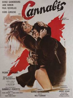 "French 23""x31"" poster for CANNABIS (1970) starring Serge Gainsbourg & Jane Birkin; poster artwork by Georges Allard"