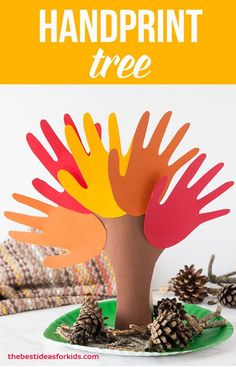 This Fall Handprint Tree is such a fun craft for Fall! Would make a pretty Thanksgiving centerpiece. Perfect autumn handprint tree that will make an adorable keepsake. Kids will love making this 3D handprint tree! Handprint Tree Craft ~ Handprint Tree Art ~ Tree with Handprints via @bestideaskids
