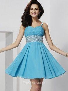 A-Line/Princess Spaghetti Straps Rhinestone Sleeveless Short/Mini Chiffon Dress (DylanQueen N14D01731C)