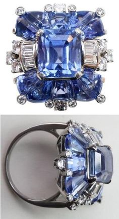 A fabulous platinum ring set with natural pastel colored Ceylon sapphires; the center an emerald cut sapphire flanked by special modified trapezoid cut sapphires, all in exactly the same color and accented by baguette and brilliant cut diamonds, signed and numbered: Oscar Heyman, 79595, U.S.A., circa 1930-1940. Via 1stdibs. by vladtodd