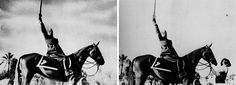 Photomanipulation (aka Photoshop) in the 1940s: Benito Mussolini had the horse handler removed from the original photograph - 1942