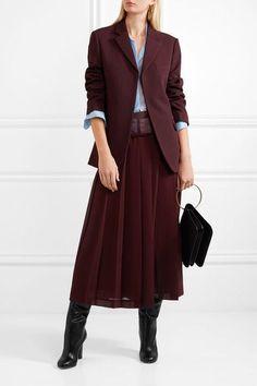 Victoria Beckham - Paneled Pleated Georgette Midi Skirt - Burgundy