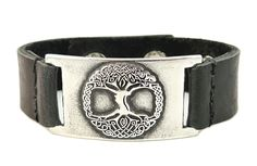 Tree of Life Bracelet, Black Leather, Adjustable >>> Check out the image by visiting the link.