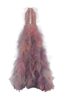 MARCHESA Halter Neck A Line Ball Gown