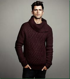 Sean O'Pry for H&M: 'Winter Knits' for Men. I like the deep maroon color.