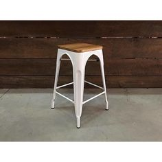 Tolix Bar Stool With Wooden Seat - White Metal-67cm – Wazo Furniture