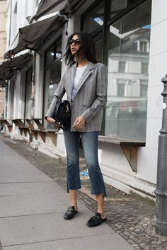 storm wears roseanna blazer with mother denim jeans and gucci princetown slipper found at april fist store berlin