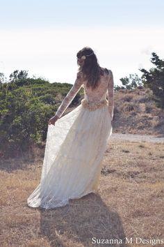 Ivory Lace Bohemian Wedding Dress Maxi Bridal