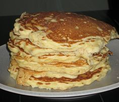 Oatmeal pancakes 1 c flour 1 c oatmeal 2 tsp baking powder 1/2 tsp salt 2 eggs 1.5-2 c milk 2 tbsp butter (optional) Splash of vanilla 1/2 cup Apple sauce