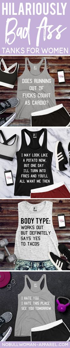 FUNNY + MOTIVATIONAL=WINNING! #workout tanks  www.NoBullWoman-Apparel.com