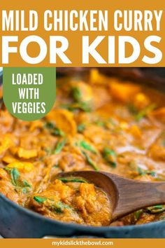Chicken Curry For Kids – Veggie Loaded Mild but delicious chicken curry for kids, absolutely loaded with vegetables thanks to one of my favourite kitchen hacks a family-friendly dinner Budget Family Meals, Healthy Family Meals, Healthy Dinner Recipes, Kids Meals, Healthy Dinners For Kids, Healthy Snacks, Healthy Kids, Easy Meals, Mild Curry Recipe