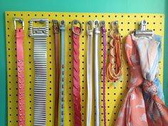 Oh So Lovely Vintage: A simple belt rack/accessory organizer DIY!