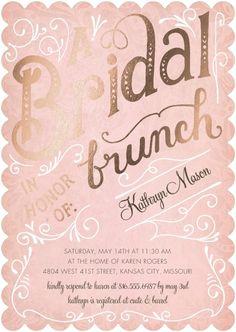 Bridal Brunch - Signature Foil Bridal Shower Invitations in Rose or Peppermint | Petite Alma