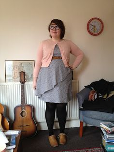grey ruffle dress + pink cardi & black tights