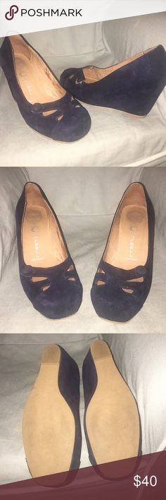 Handmade Jeffery Campbell Wedges Navy blue suede wedges, like new, worn twice. Super adorable! 3 inch wedge Jeffrey Campbell Shoes Wedges