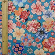 Japanese  kimono cotton fabric flower printed by HanamiBoutique