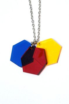 Colour Theory Geometric Necklace Laser Cut Perspex