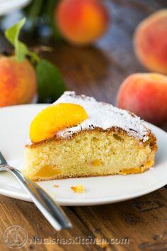 Easy Summer Peach Cake; moist, crumbly, soft and so easy! @natashaskitchen