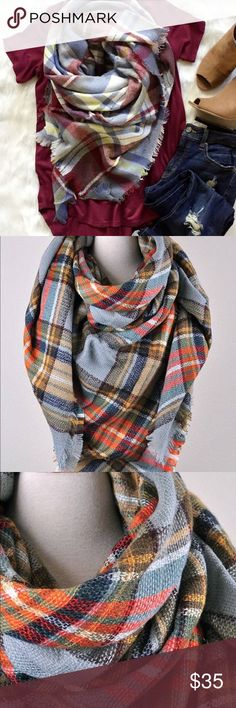 🙌Plaid Blanket Scarves 🙌‼️Like to get price drop Plaid Blanket Scarves! These are arriving next week, they are excellent quality. Selling for $35 and up in-boutiques. This color is a beautiful blend of light blue, light red, a touch of orange and a bit of yellow. Surely to brighten up an outfit and accents Eye colors! ❤️.                Follow me 💞💞💞💞💞 📱 Instagram @lalasheboutique  💻Facebook @lalasheboutique 🐦 twitter @lalasheboutique Accessories Scarves & Wraps