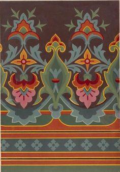 Wallpaper Christopher Dresser 1876 NYPL Would make a Great quilt order design. Textile Patterns, Textile Design, Fabric Design, Print Patterns, Design Floral, Art Design, Border Design, Pattern Design, Retro Pattern