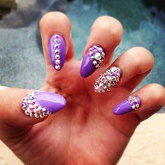 #stiletto nails - purple and all blinged out