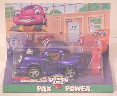 Chevron Cars Pax Power with Gas Can, 2 Piece Set, Collectible, Race Car by Chevron Corporation. $17.99. All you have to do is take a look at Pax Power's sparkling insides to see that he has never forgotten the lessons that Professor Trevor Tow Truck taught him -- it's what inside that counts. He likes to pop open his smiling engine which is ready and raring to go at top performance. Safety tested and recommended for children ages 3 and over.  Doors open  Comes wit...