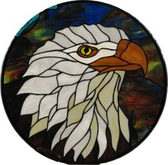 Stained glass Eagle head round - 24 [Eaglecircle24] - $295.00 : Glass Moose Cart, handcrafted glass, beads/supplies, jewelry, wood & metal art, signs