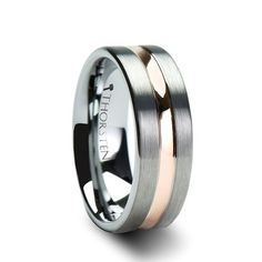 ZEUS Pipe Cut Brush Finished Tungsten Carbide Ring with Rose Gold Plated groove. This sleek and modern band is a classy and contemporary style, made with a tungsten carbide brushed finish and a polished rose-gold plated groove. Wedding Rings Rose Gold, White Gold Rings, Wedding Ring Bands, White Gold Diamonds, Guys Wedding Rings, Wedding Bands For Men, Gold Wedding, Luxury Wedding, Wedding Table