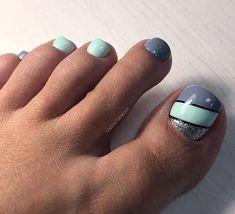 51 Adorable Toe Nail Designs For This Summer-- Grey and Mint Toe Nail Design Gel Toe Nails, Simple Toe Nails, Pretty Toe Nails, Gel Toes, Summer Toe Nails, Cute Toe Nails, Toe Nail Art, Nail Ideas, Stiletto Nails