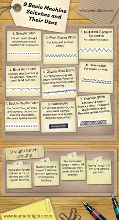 Sewing 101 - Basic Sewing Machine Stitches and Their Uses | --> ONLY Repinned by Alireza Rezvani