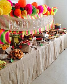 Birthday Backdrop, bright birthday, rustic birthday, food table