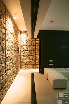 Rock wall at Casa Gavion by ColectivoMX architects. This house is located where there is 350 sunny days per year!  #architecture #gavion #gabion #rock #smart