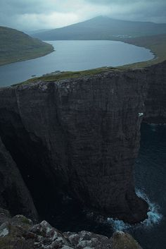 sørvágsvatn, largest lake on the faroe islands, denmark -- #europa  #cliffs  #water