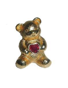 Vintage AVON Bear Valentine Heart Pin 80s Tie Tack by PopcornVintageByTann