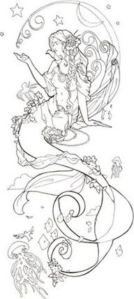 this would make a killer Mucha style mermaid tattoo!