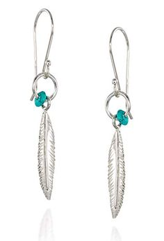 50d93908e Fashionable Women's Feather Earrings in 925 Sterling Silver with Turquoise  Bead Accent and Small Hoop