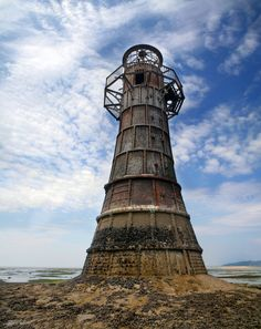 Whitford Lighthouse- Whitford Point, Gower, Wales-   abandoned cast-iron lighthouse built in 1865