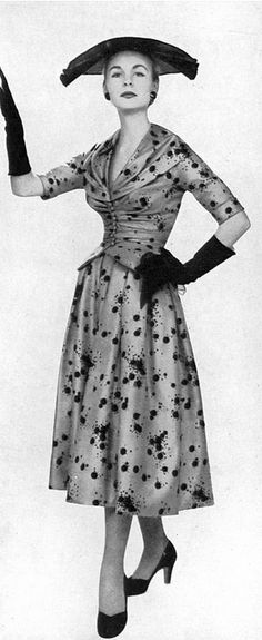 1953 Shirley Worthington in silk surah print afternoon dress by Christian Dior, Vogue UK,