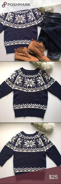 "Delia's // Snowflake Crop Sweater - navy Super cute sweater from Delias. Snowflake pattern in white with a navy background. 3/4th length sleeves. Tight fit and a juniors size. Has been worn but in great condition.   Measurements: bust 30"" Waist 29"" Hips 26"" Length 21"" Sleeve length 14"" delia's Sweaters Crew & Scoop Necks"
