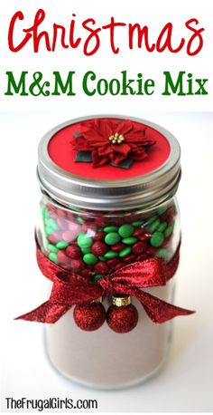 Christmas M&M Cookie Mix in a Jar! ~ from TheFrugalGirls.com ~ this makes such a fun gift for friends, family, and co-workers! #masonjars #thefrugalgirls