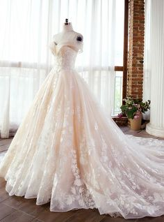 Ball gowns wedding - Fascinating Tulle & Lace Offtheshoulder Neckline Aline Wedding Dresses With Lace Appliques & Beadings Western Wedding Dresses, Sexy Wedding Dresses, Lace Wedding, Mermaid Wedding, Wedding Gowns, Modest Wedding, Ballgown Wedding Dress, Extravagant Wedding Dresses, Queen Wedding Dress