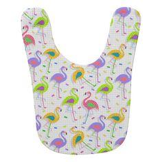 Retro 80's Flamingo Pattern Baby Bib