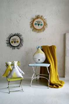 Animal cushions and wall decorations