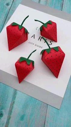 gift to make Strawberry Gift Box DIY - Paper Gift Box - Easy Paper Box Shaped Strawberries Diy Crafts Hacks, Diy Crafts For Gifts, Diy Arts And Crafts, Diy Crafts Videos, Diy Kid Gifts, Creative Crafts, Handmade Crafts, Diys, Paper Crafts Origami