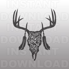 Deer Skull Flourish SVG File,Deer Head SVG File,Hunting svg-Cut File-Vector Clip Art for Commercial & Personal Use-Cricut,Silhouette,Cameo by sammo on Etsy https://www.etsy.com/listing/285996941/deer-skull-flourish-svg-filedeer-head