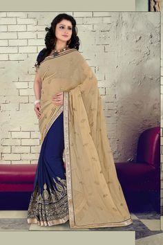 buy saree online Chiku and Blue Colour Georgette and Chiffon Party Wear Sraee Buy Saree online UK  - Buy Sarees online