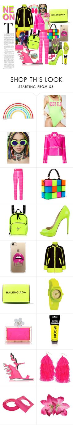 """Neon Life"" by demarcusalexan ❤ liked on Polyvore featuring Sunnylife, Body Glove, Fantas-Eyes, Fendi, Dolce&Gabbana, Giuseppe Zanotti, Prada, Casetify, Boutique Moschino and Balenciaga"