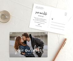 Lovely Letters Save the Date photo postcards front & back Diy Save The Dates, Modern Save The Dates, Save The Date Photos, Save The Date Postcards, Wedding Save The Dates, Photo Postcards, Save The Date Cards, Our Wedding, Destination Wedding